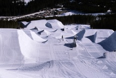 Early morning shot of Terrain Park features with no riders.
