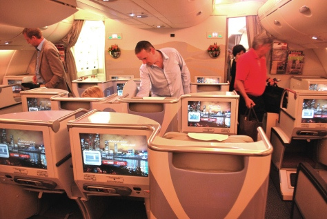 Classe executiva do A380 da Emirates